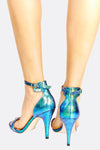 Teal Green Textured High Heeled Sandals