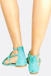 Turquoise Faux Suede Short Gladiator Sandals