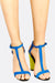 Blue Thin Strap Sandals With Green High Heel