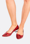 Red Snake Pattern Shoes