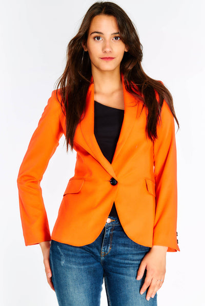 Red Single Button Blazer