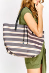 Purple Stripe Beach Bag