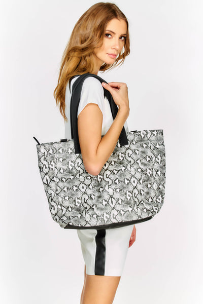 Black Snake Print Beach Bag