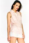 Pink Semi Sheer Sleeveless Shirt