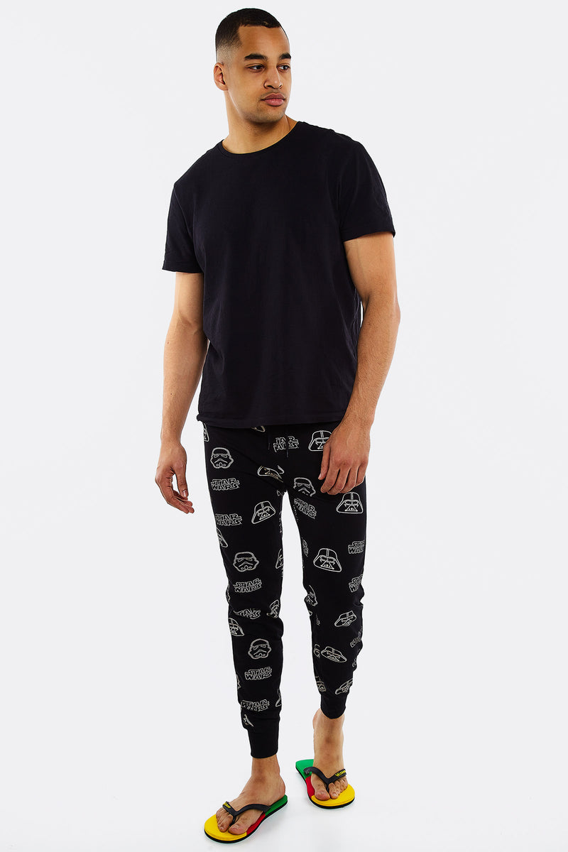 Black Pajama Pants With Star Wars Pattern
