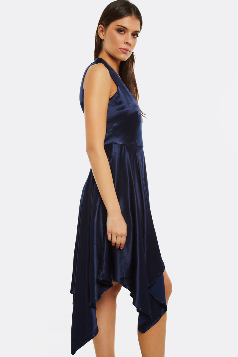Dark Blue Asymmetrical Dress