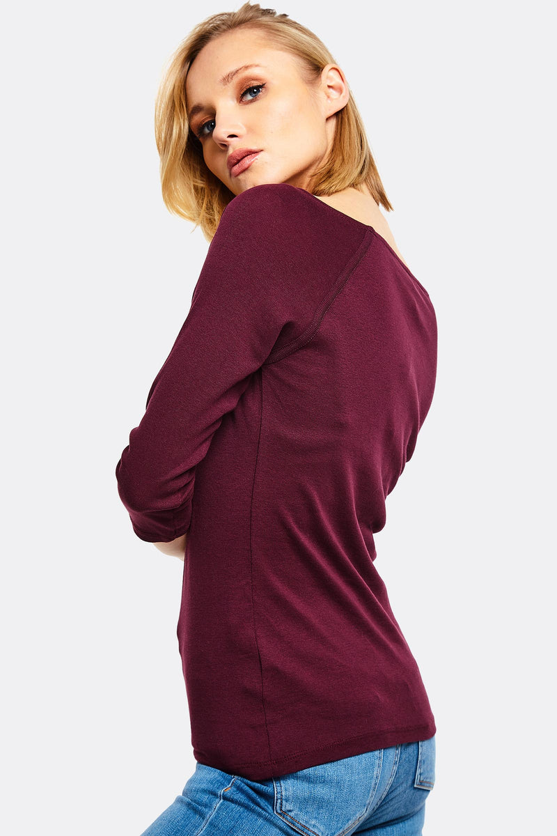 Dark Violet Blouse With Boat Neck