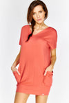 Coral Short Sleeve Dress