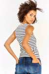 White Striped Sleeveless Top
