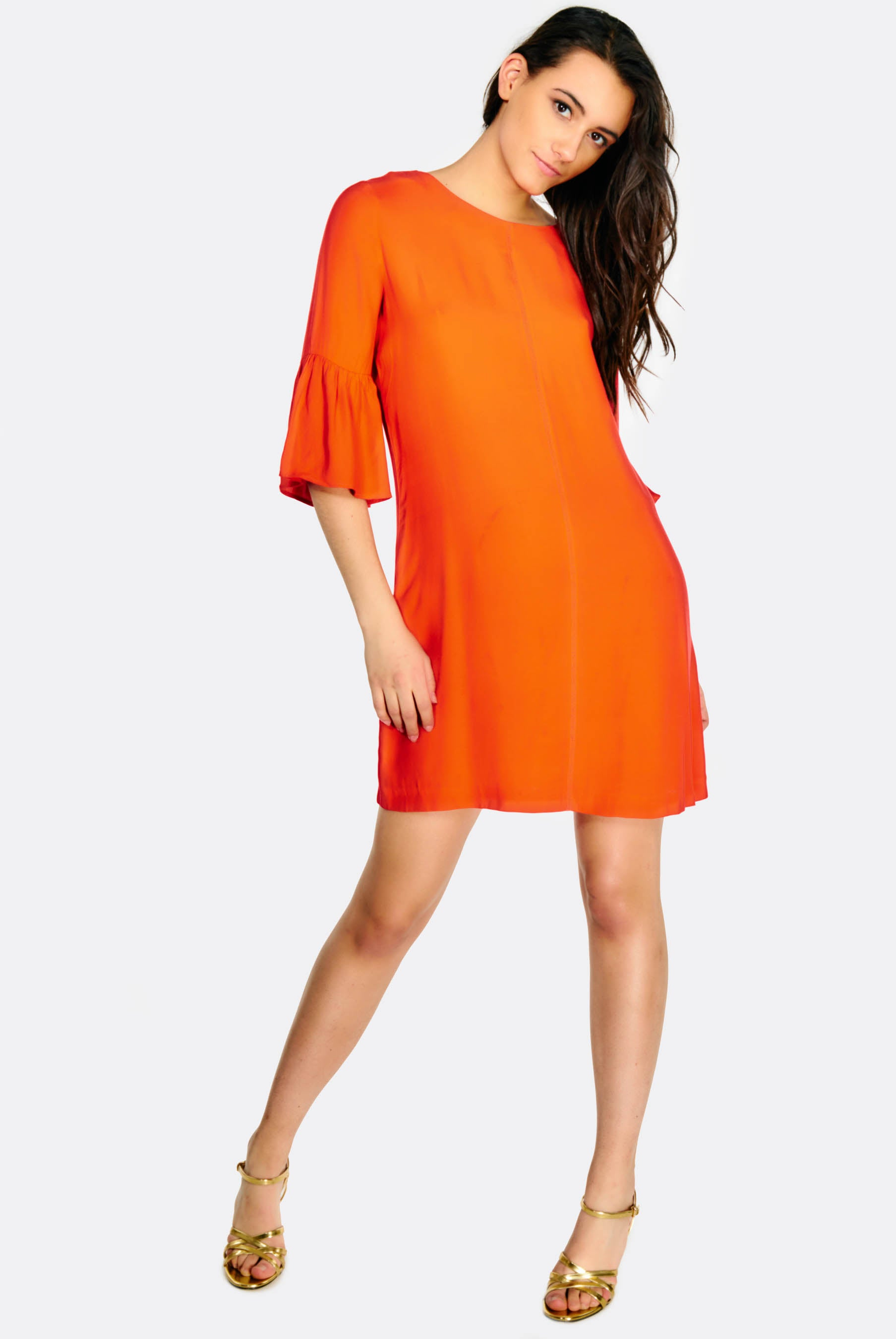 Orange Half Sleeve Shift Dress Blackbetty