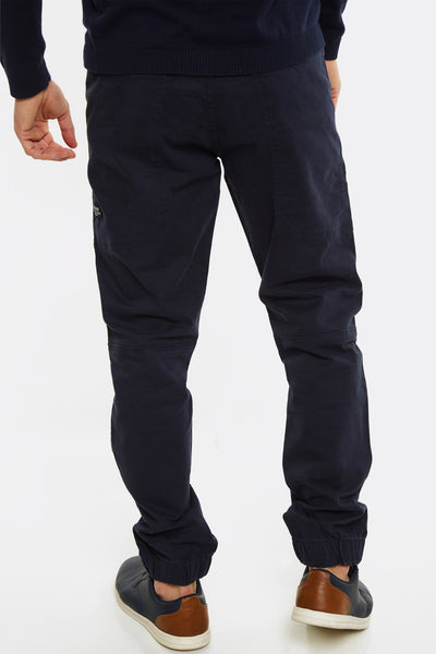 Navy Trousers With Elastic Hems