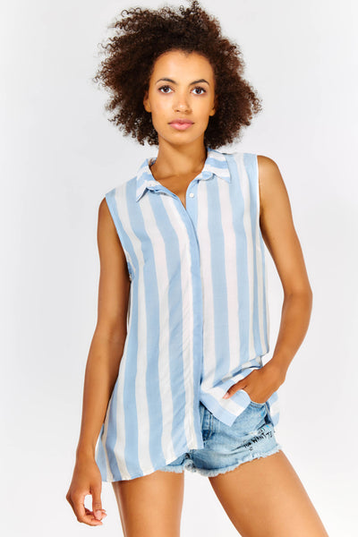 Pale Blue And White Sleeveless Shirt