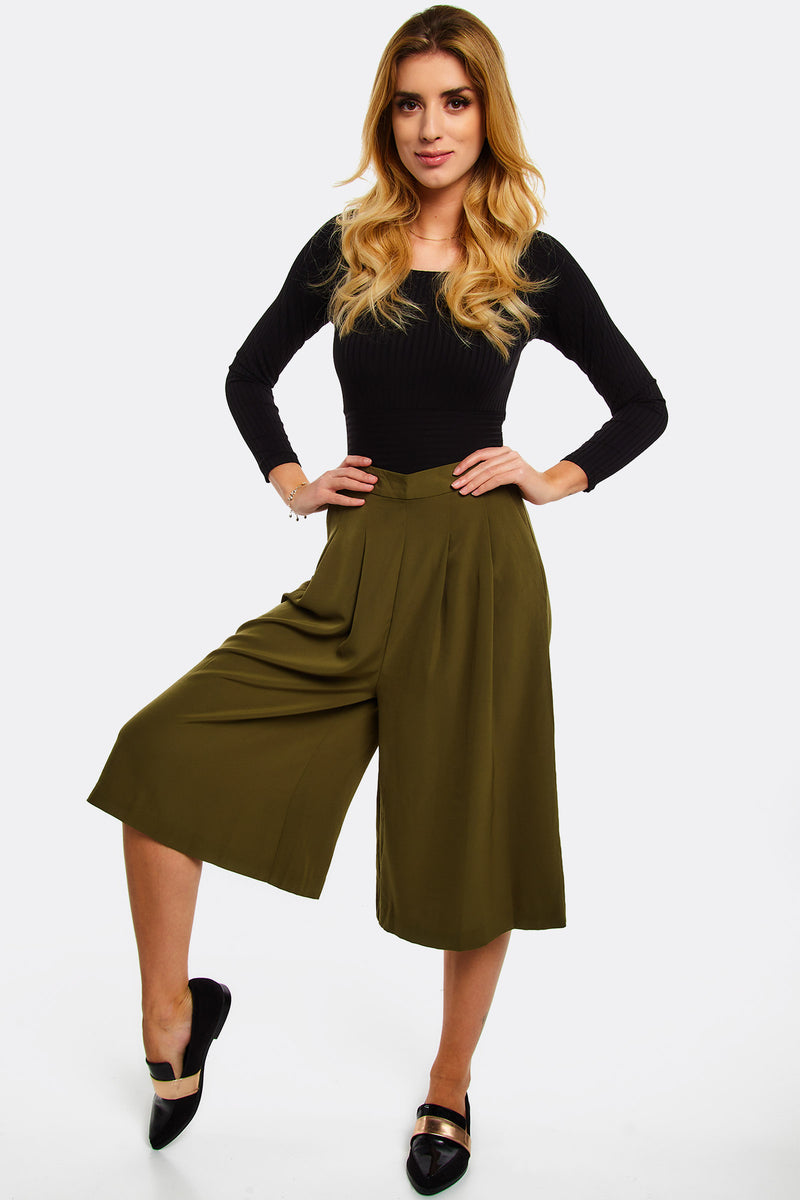 Military Green Flowy Culottes