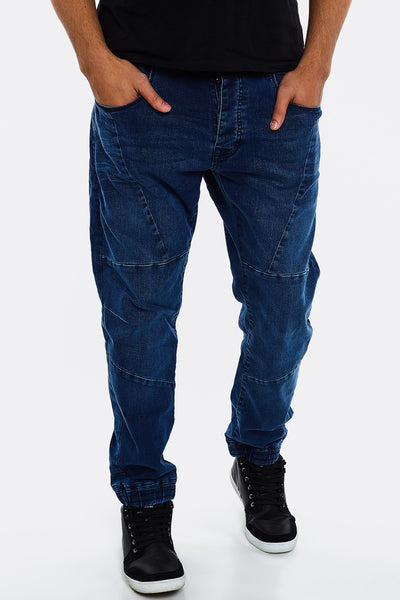 Navy Jeans With Elastic Hems