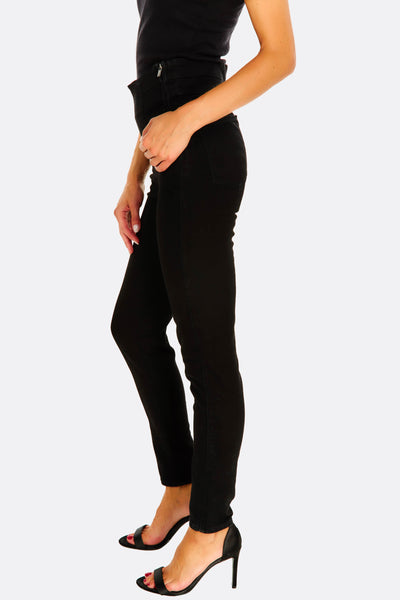 black jeans with side zipper