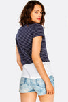 Navy Striped Cotton T-Shirt
