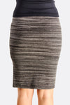 Grey Fitted Skirt With Side Slit