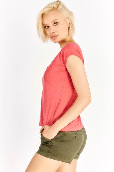 Pink Cotton T-Shirt With Chest Pocket