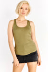 Khaki Cotton Top With Round Neckline
