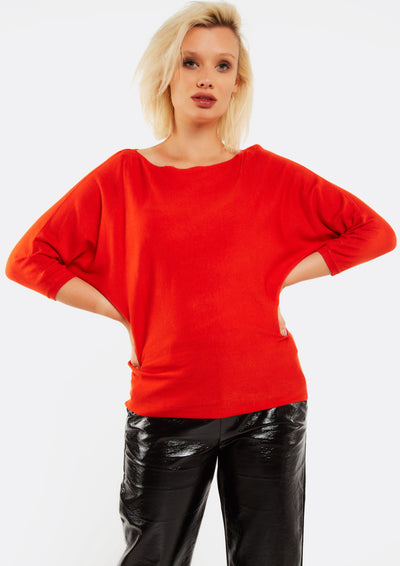 Red Jumper With Bat Sleeves
