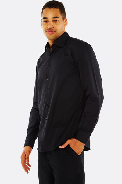 Black Shirt With Rounded Hem