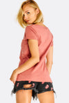 Dusty Pink T-Shirt With Chest Pocket