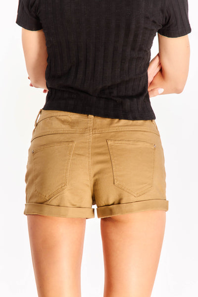 Brown Shorts With Rolled Hems