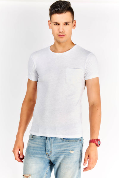 Light Grey T-Shirt With Chest Pocket