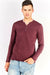 Burgundy Cotton Blouse With Decorative Buttons