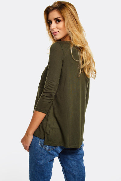 Military Green Blouse With Chest Pocket