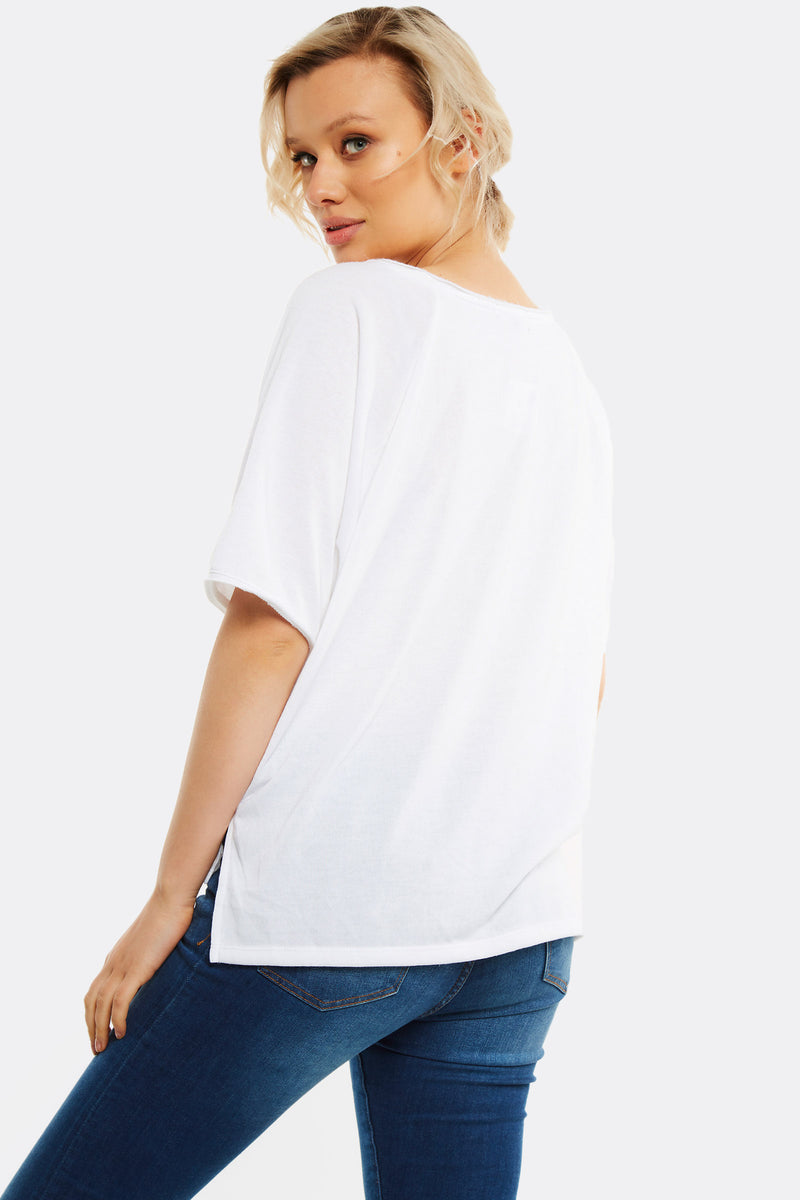 White Short Sleeve Sweatshirt