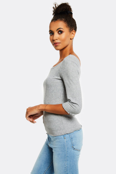 Light Grey Ribbed Blouse