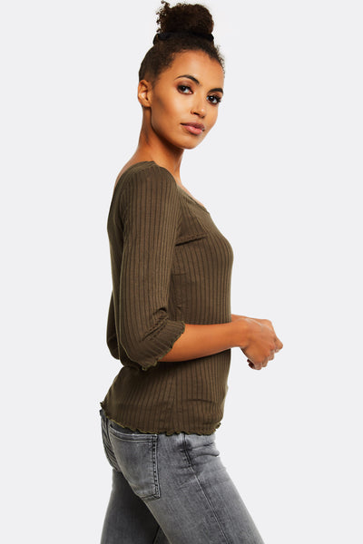 Olive Green Ribbed Blouse