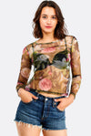 Multicolour Sheer Floral Printed Blouse