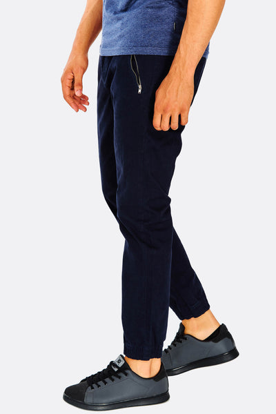 Navy Trousers With Zipped Pockets