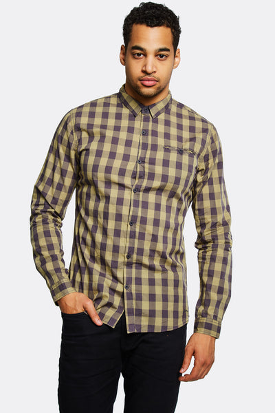 Beige Checkered Cotton Shirt
