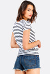 White Striped Cotton T-Shirt With Print