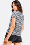White Striped Cotton T-Shirt With Prints
