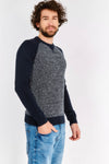 Navy Contrast Sleeve Jumper
