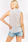 Cream Print Sleeveless Buttoned Shirt