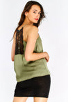 Olive Green Top With Lace Detail