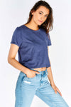 Navy Cropped T-Shirt