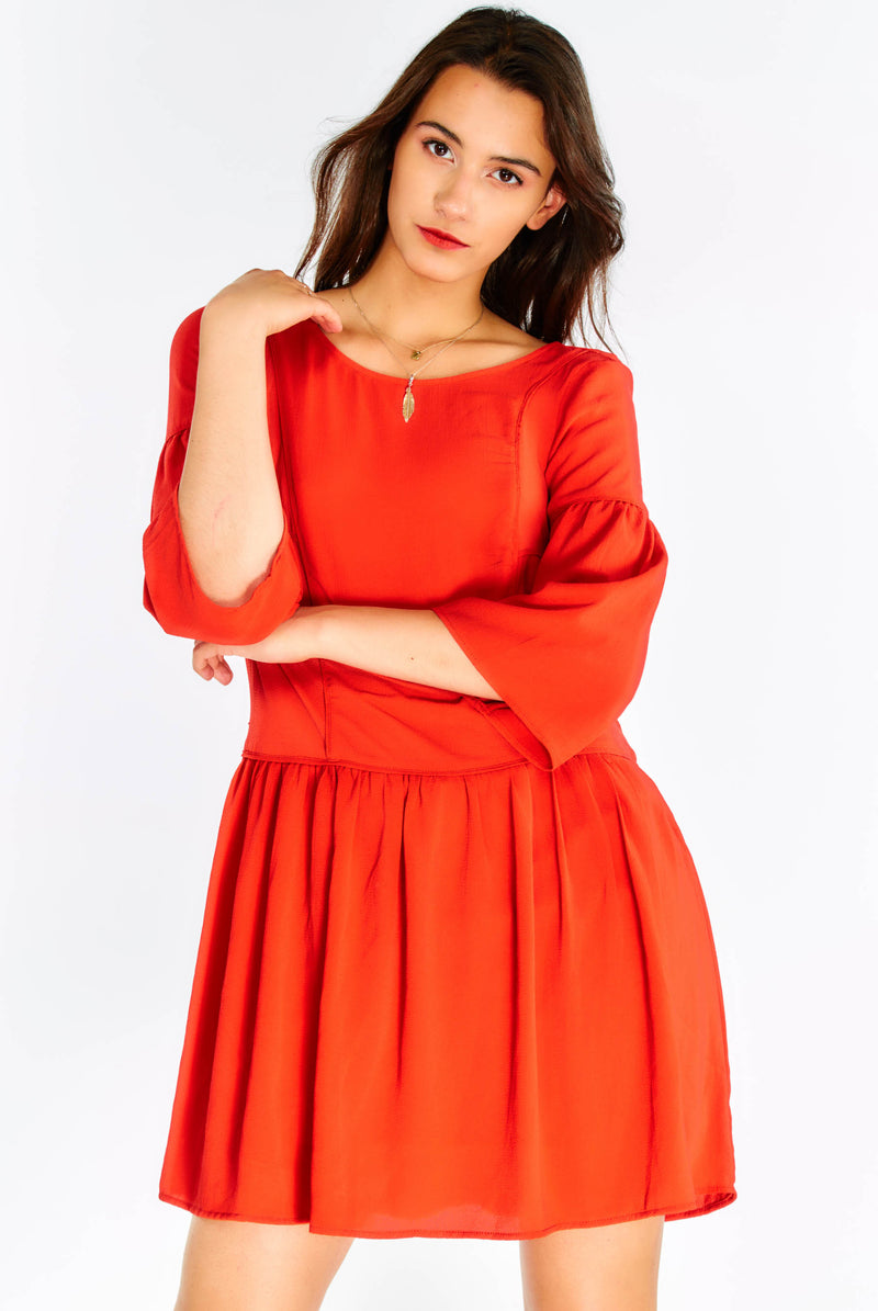 Orange Flowy Dress With Flared Sleeves
