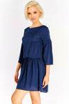 Navy Flowy Dress With Flared Sleeves