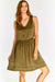 Dark Olive Green Dress With Elastic Waist