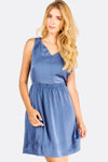 Blue Flared V-Neck Dress