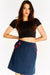 Navy Blue Short Skirt With Flower Appliques