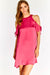 Pink Flowy Dress With Cold Shoulders