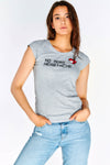 Grey Cap Sleeves T-Shirt With Front Print