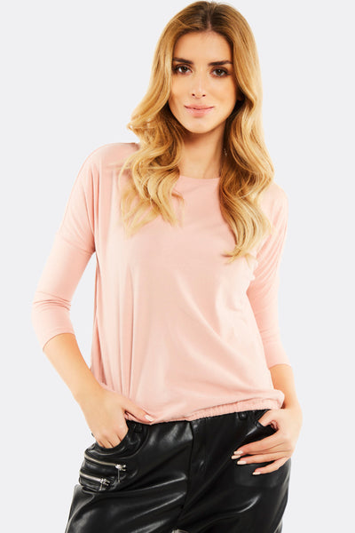 Pastel Pink Blouse With Elastic Hem